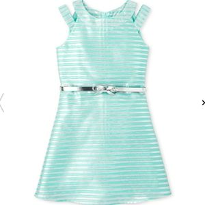 NWT Girls Metallic Striped Jacquard Cut Out Dress